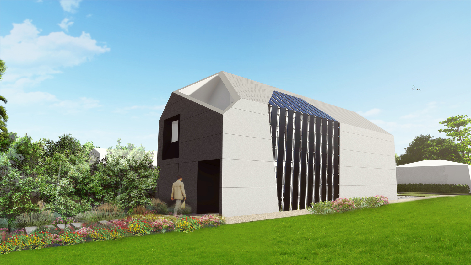 rendering of contemporary cast concrete home
