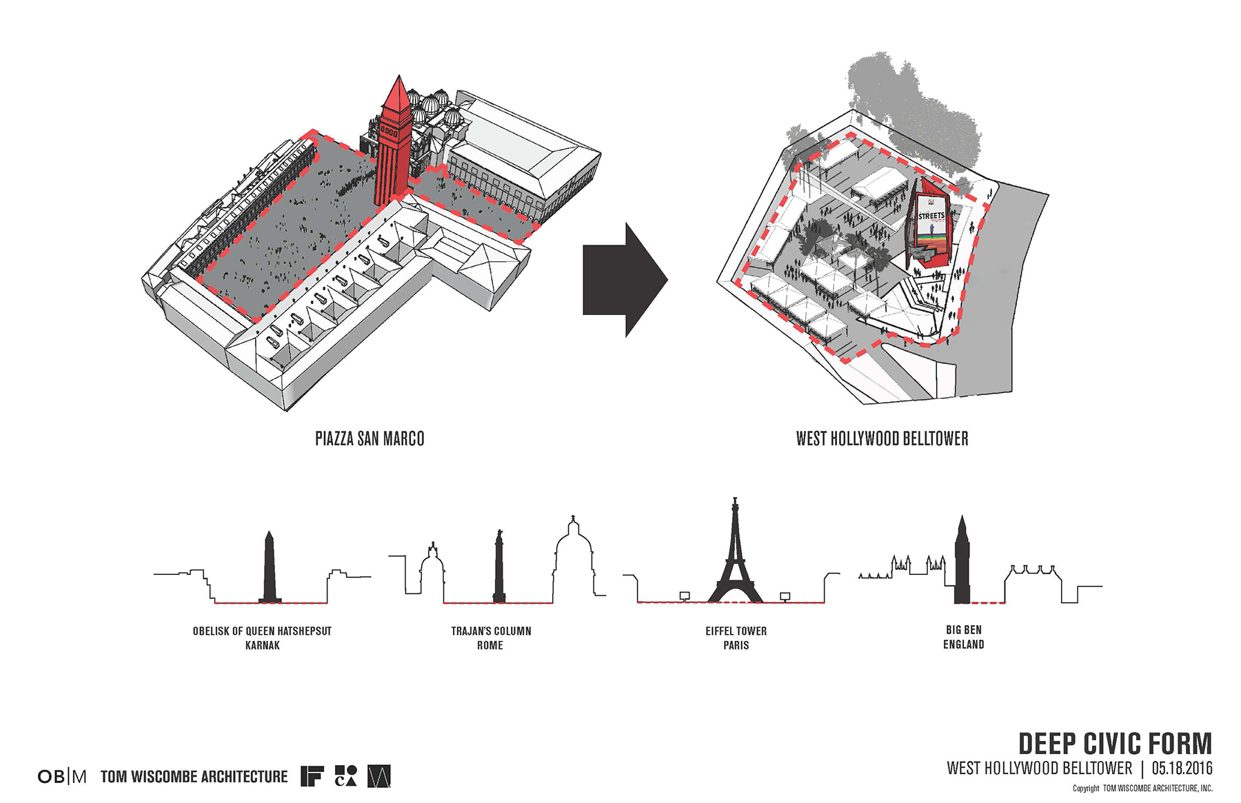 cartoon diagram of city centers and monuments