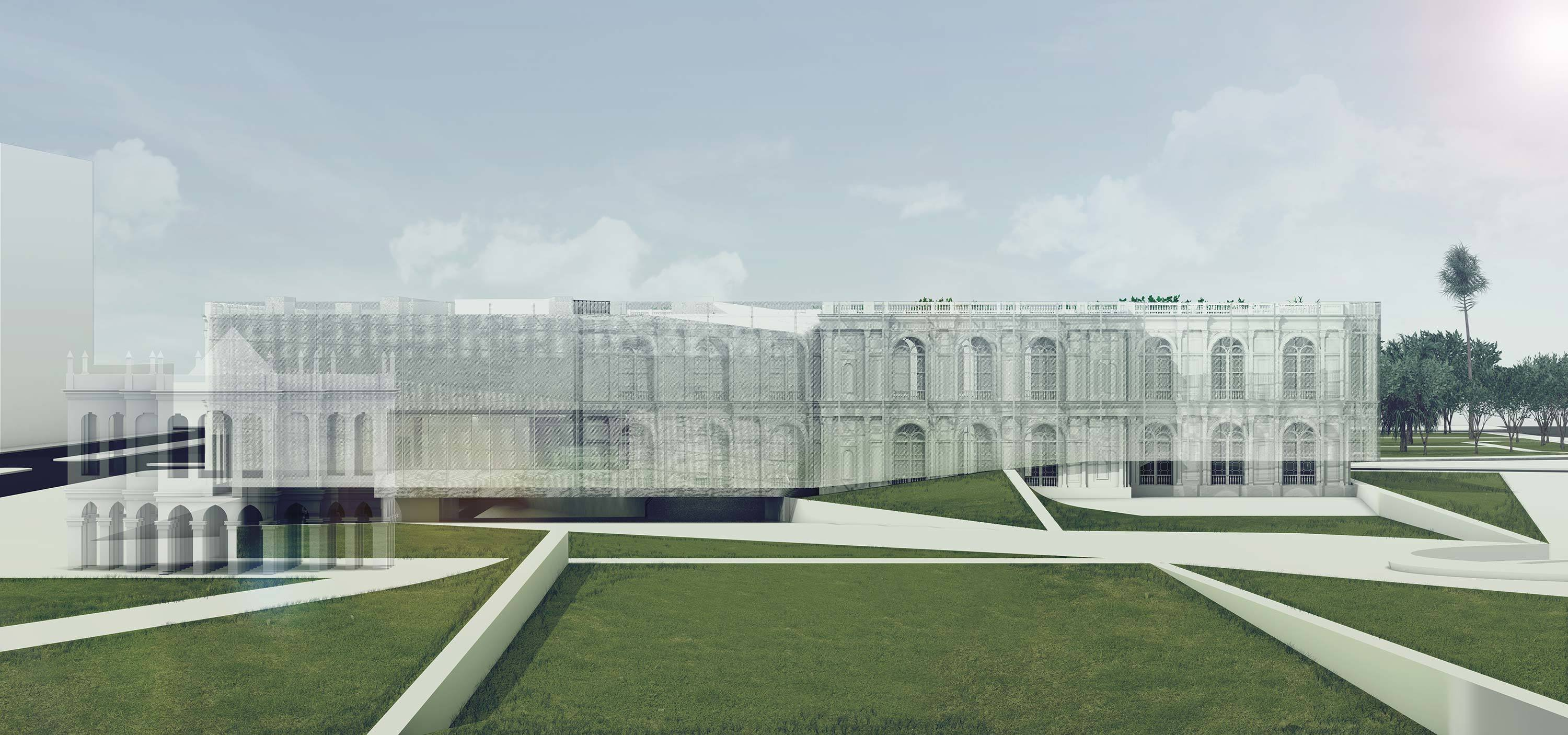 multiple classical building renderings saturated compilation digital site
