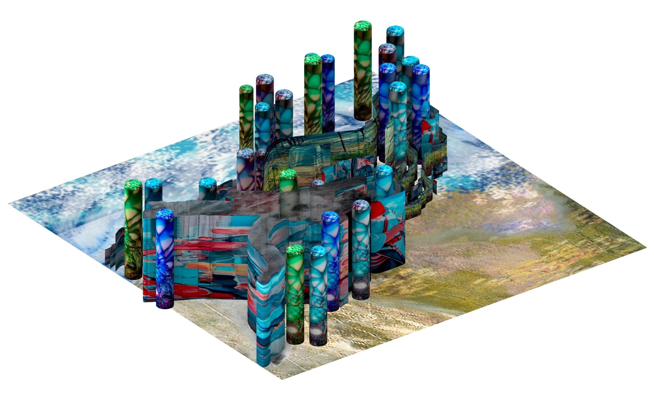 city render blue green