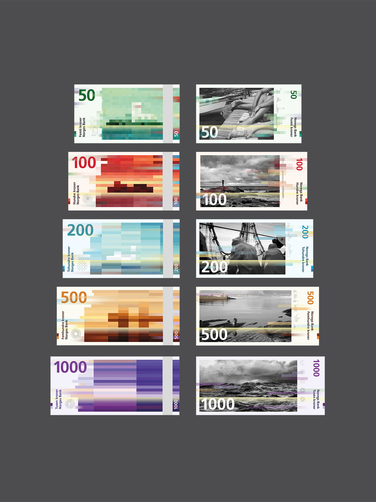renders of currency of varying size and bill amount