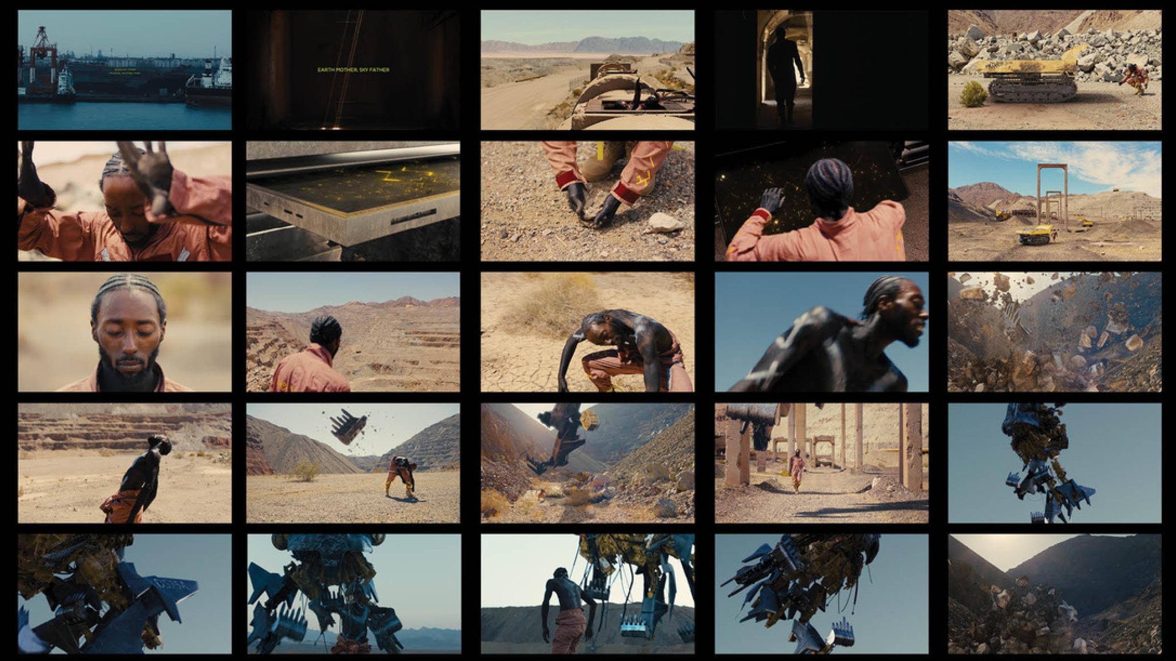 grid of film stills man alone