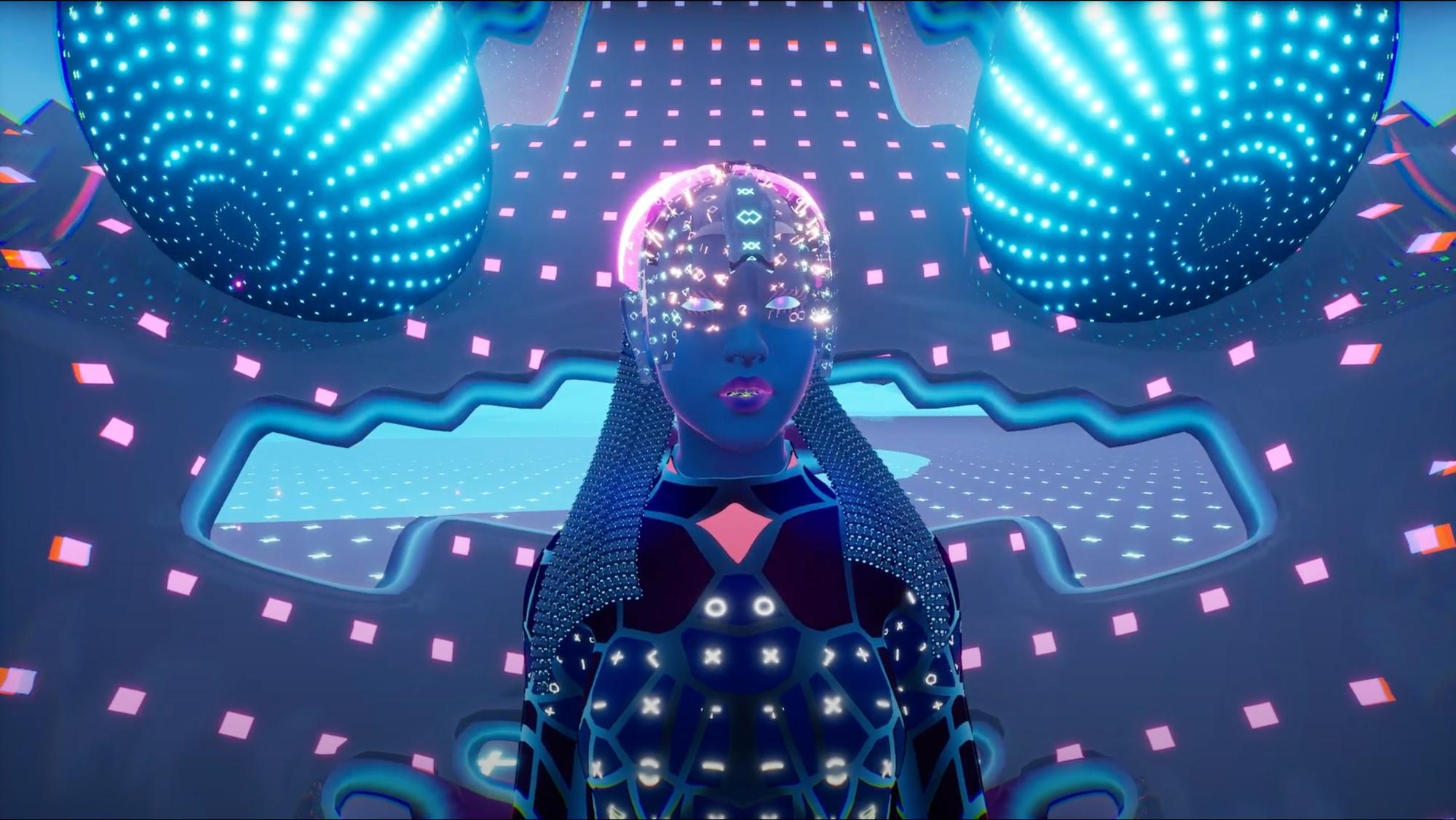 sci fi figure neon lights glowing