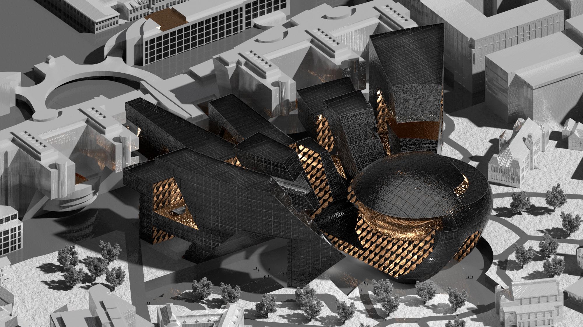 building render black gold grey