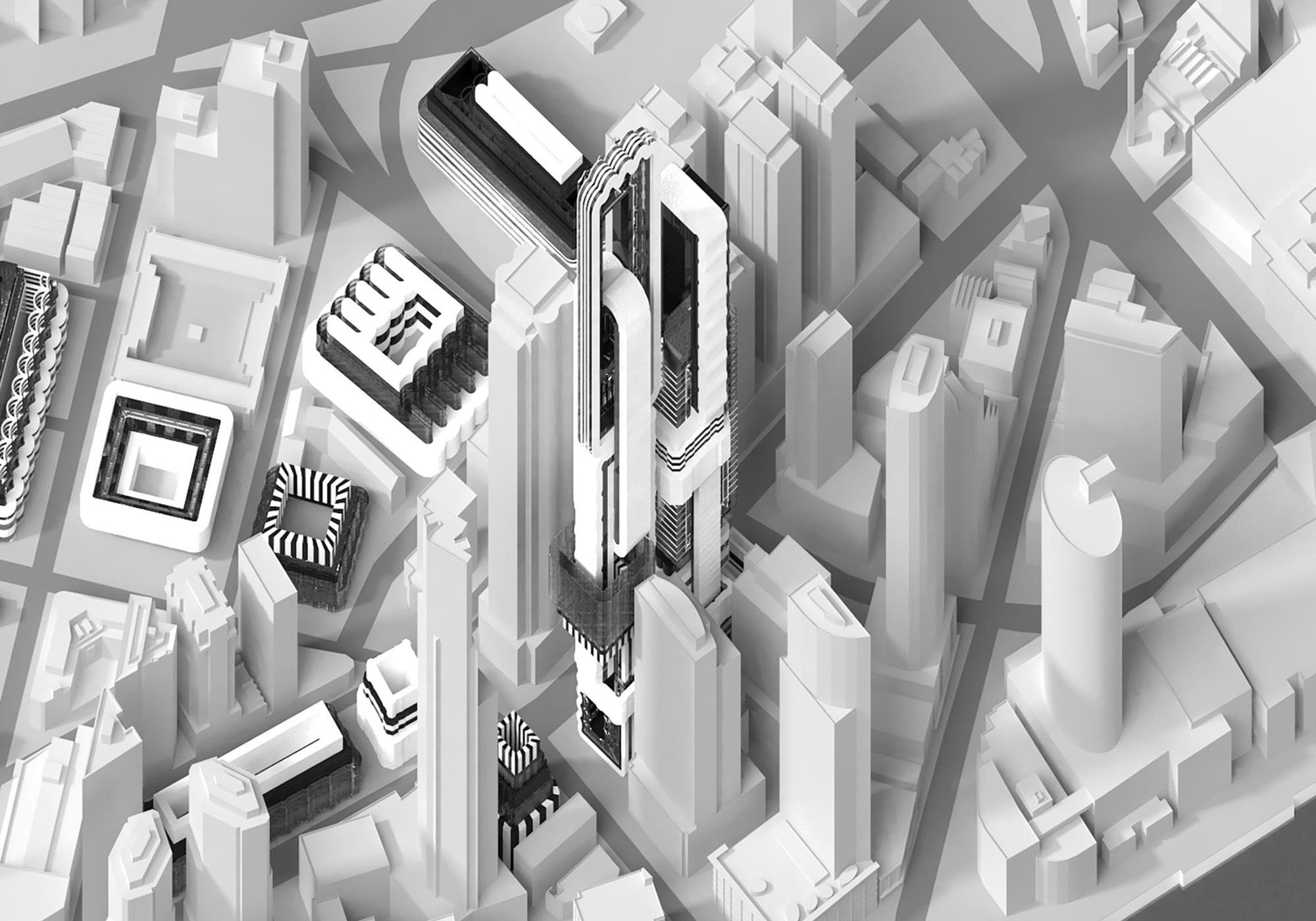 black white grey aerial render buildings