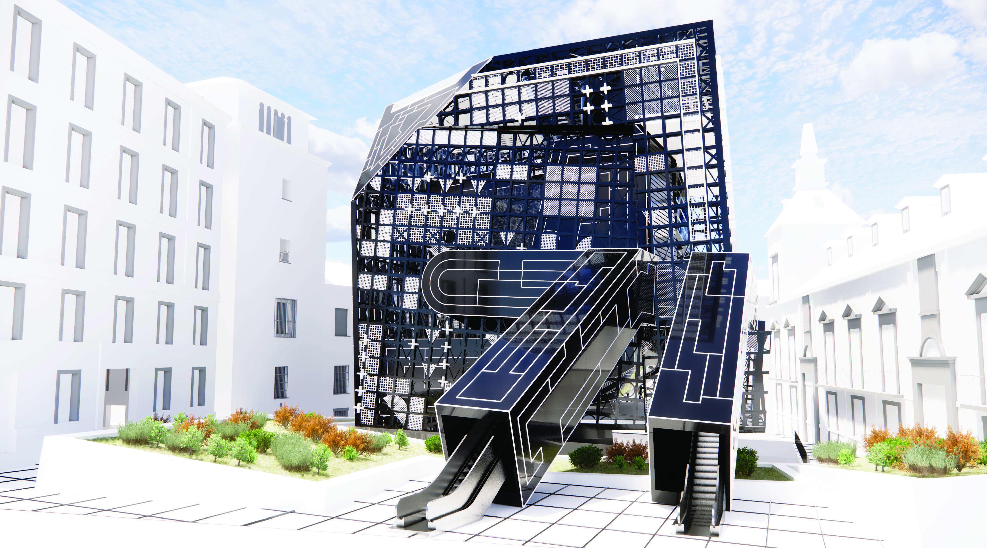 blue black glass building render