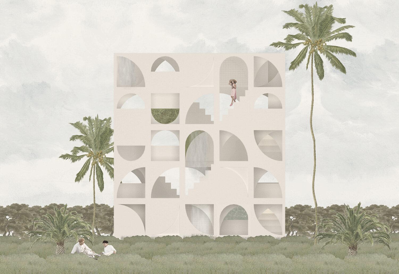 building facade render palm trees