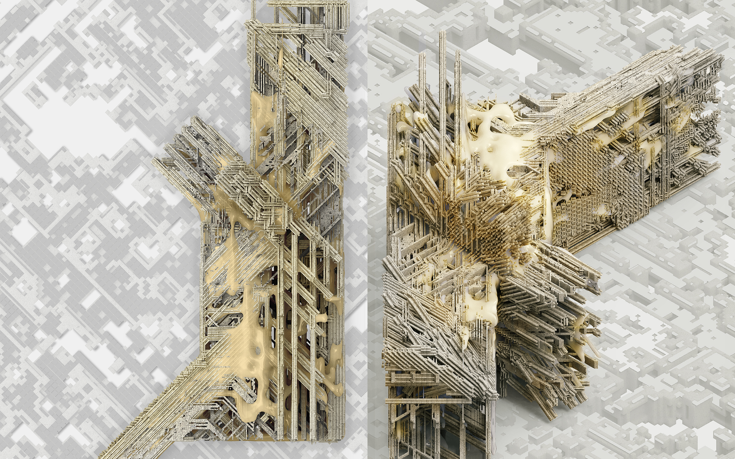 Plan and axon renders of a scripted architetcural 3D Model
