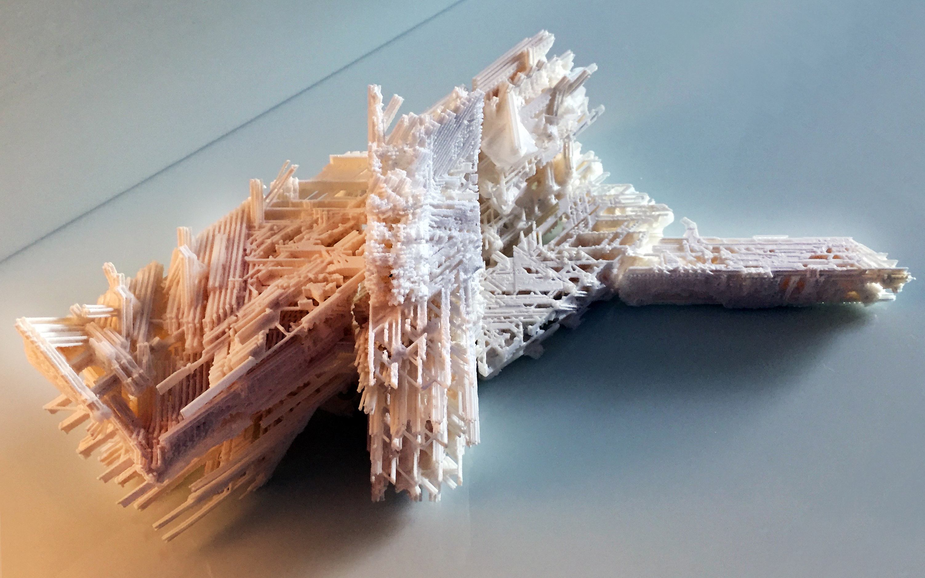 3D printed Architetcural model in orange and blue lighting