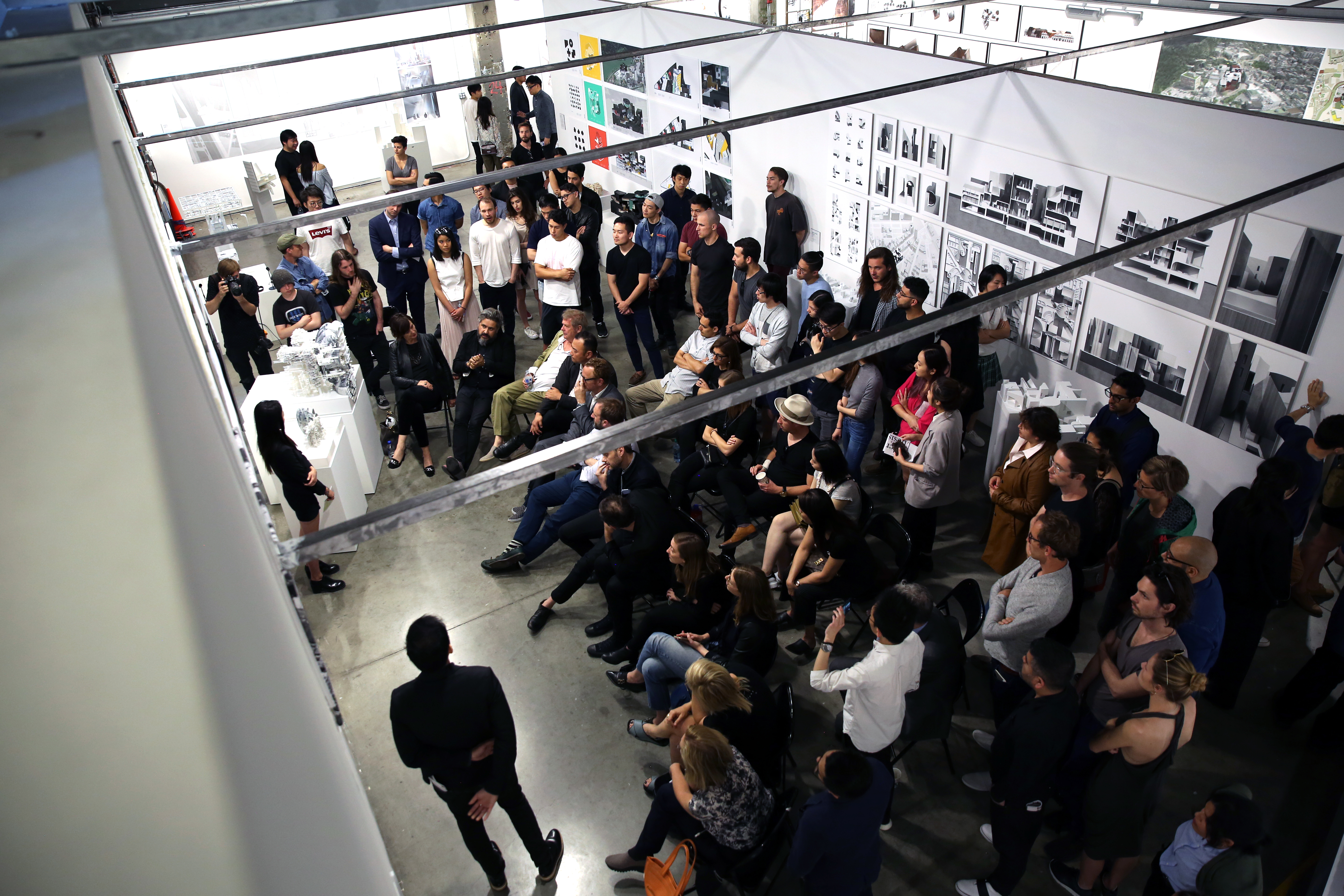 SCI-Arc students presenting a project in front of architecture enthusiasts
