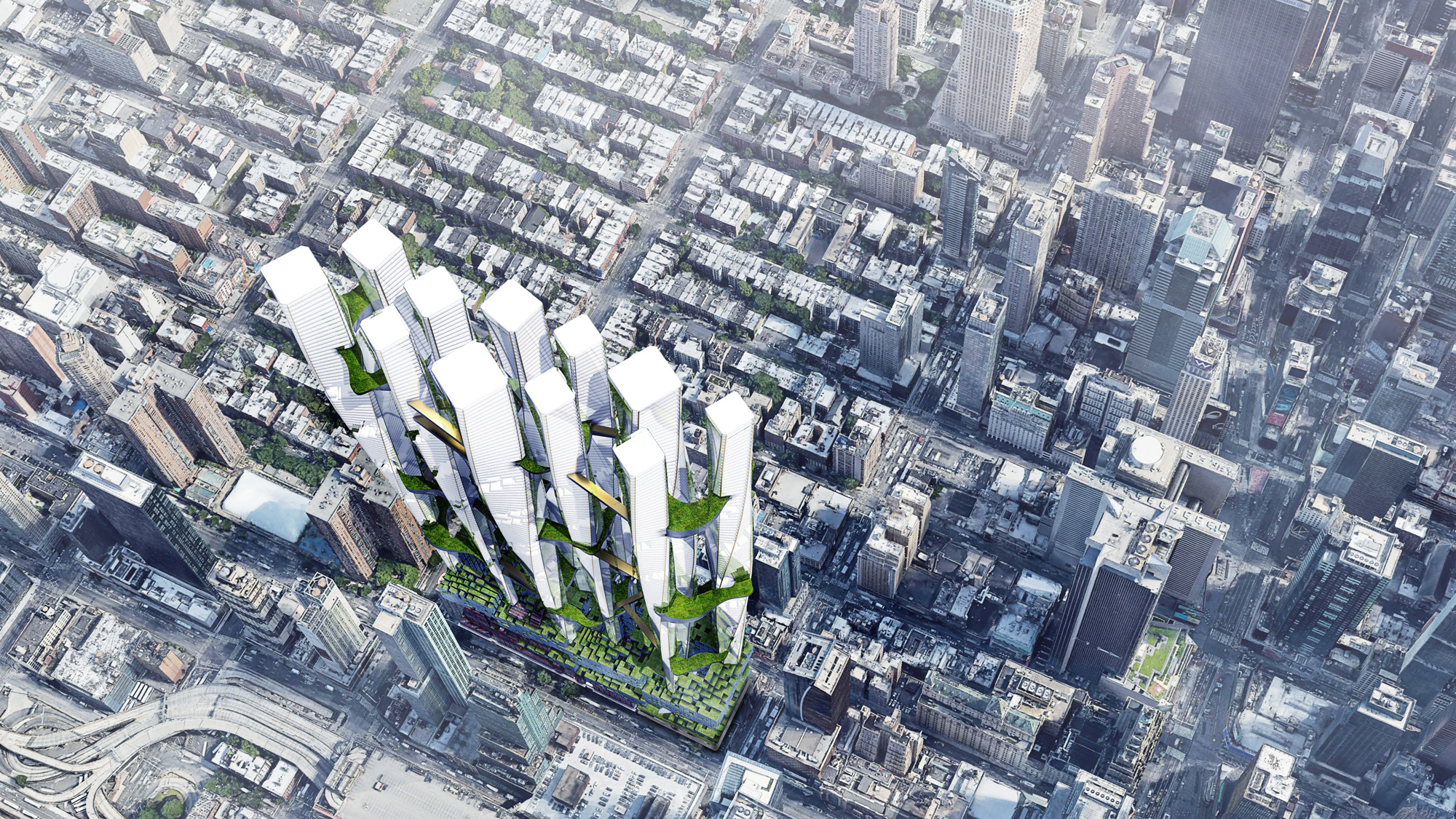 aerial view citycape tall buildings render