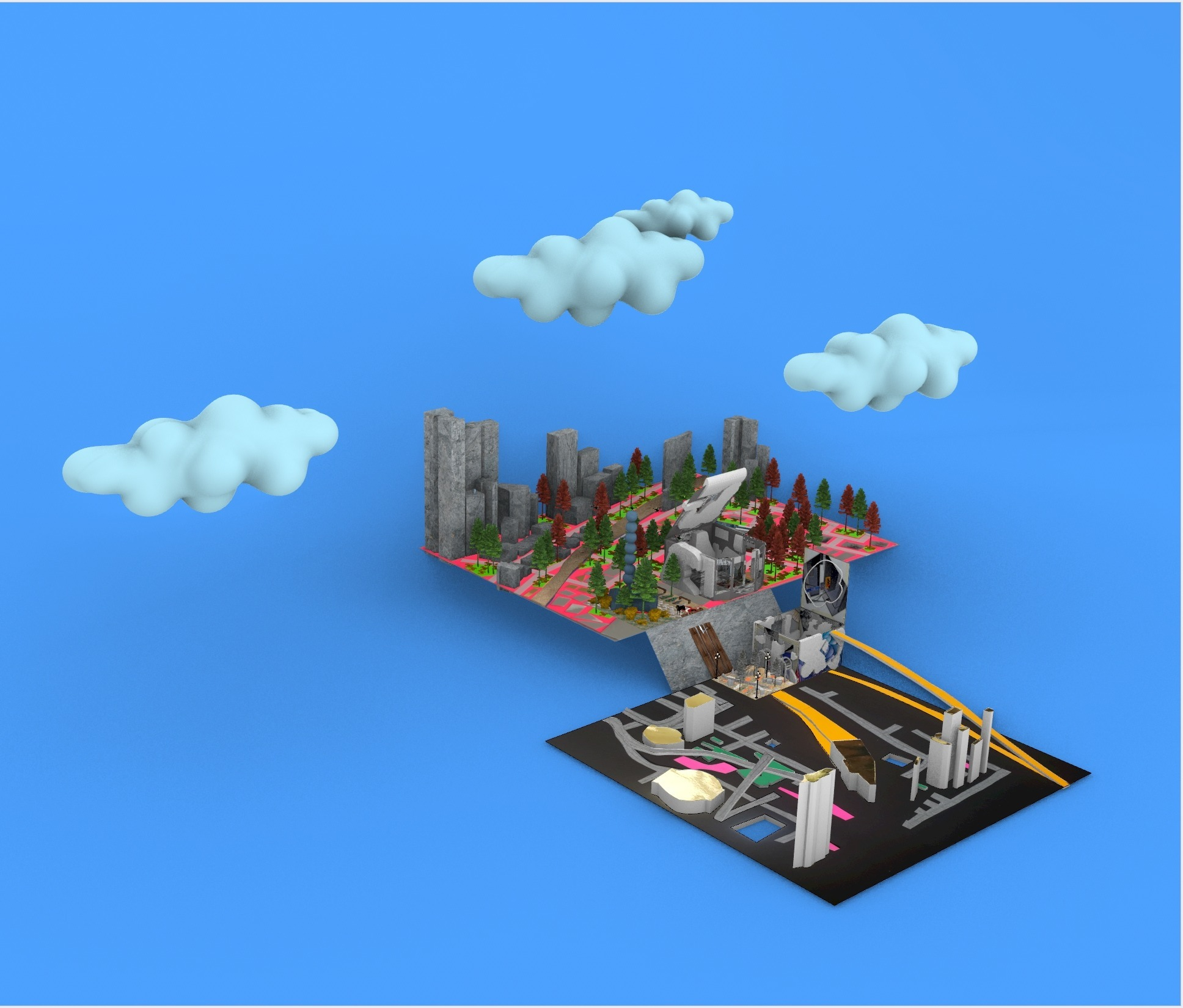 architecture render clouds