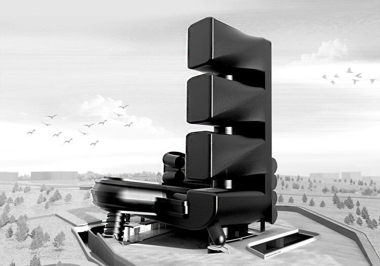 black volumetric building on grey landscape