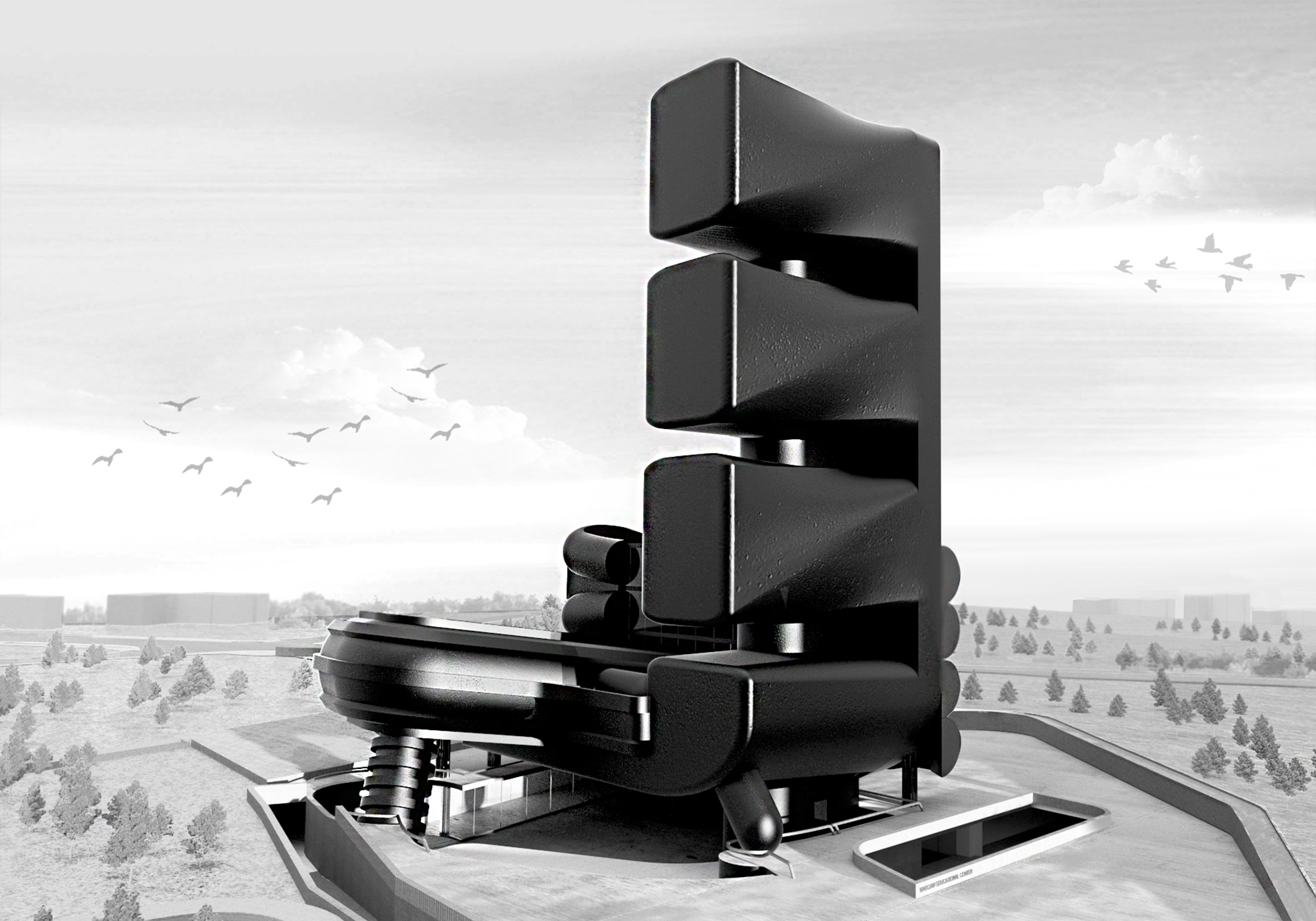 Tall black building render by student
