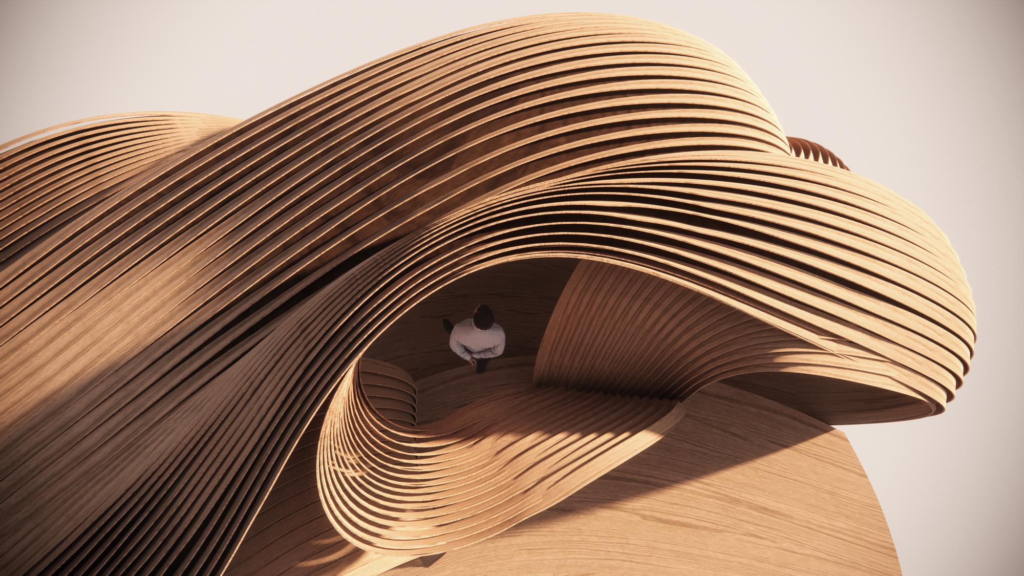 exhibition concept render wooden installation
