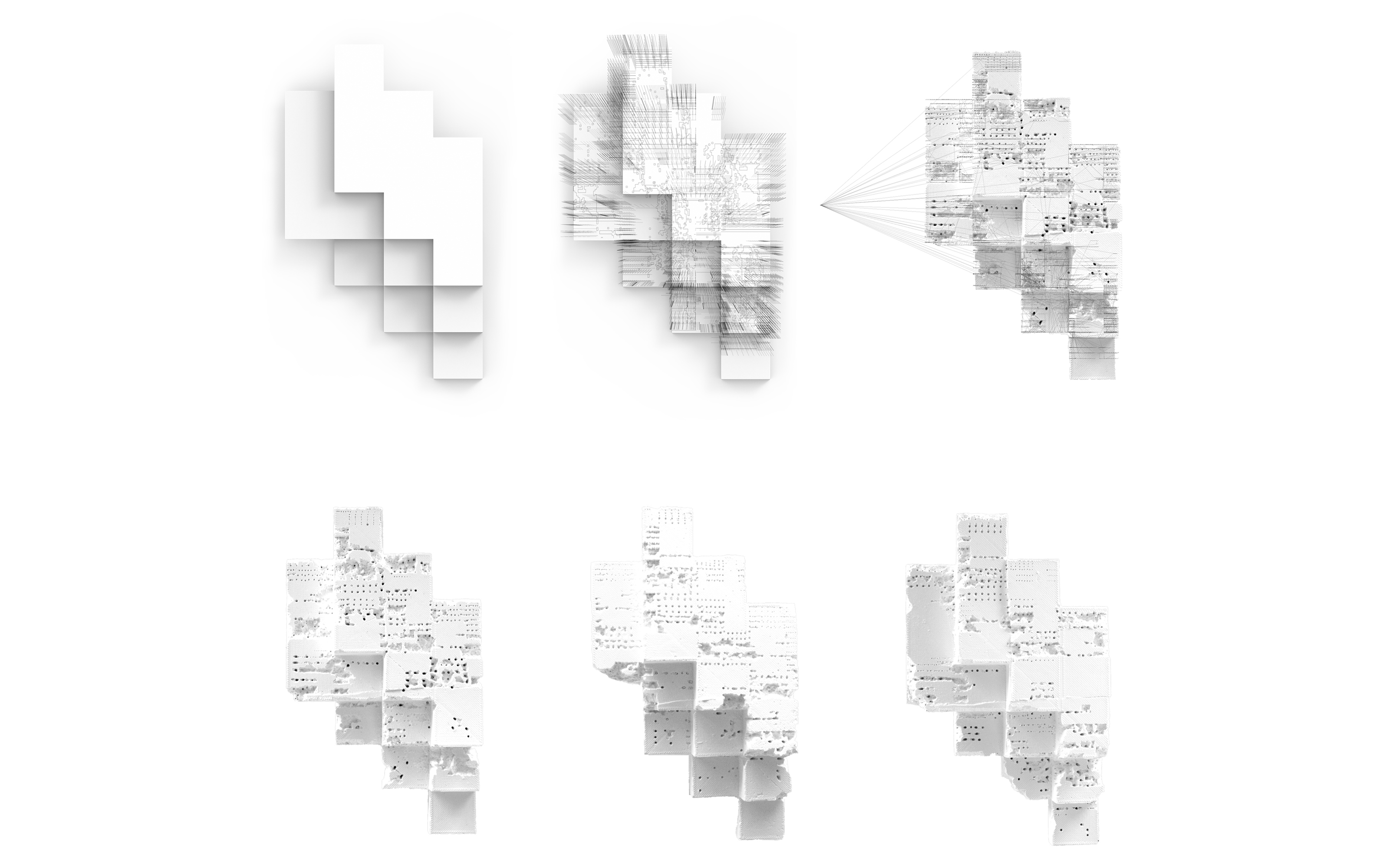 a series of project assembly renders in white