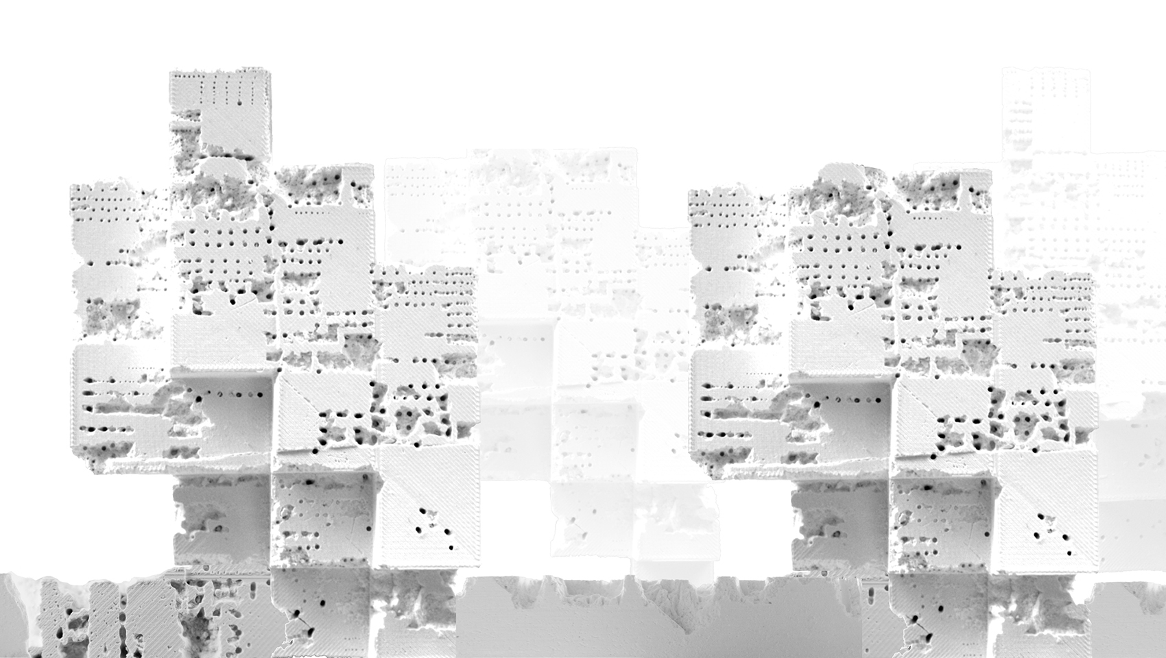 White architectural models fabricated with a robotic arm