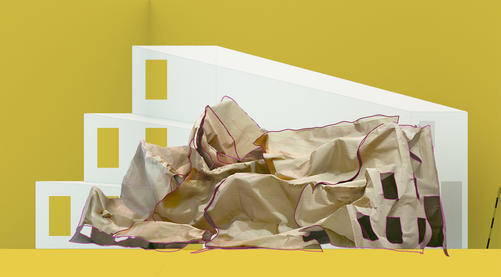 slumped architecture model on yellow background