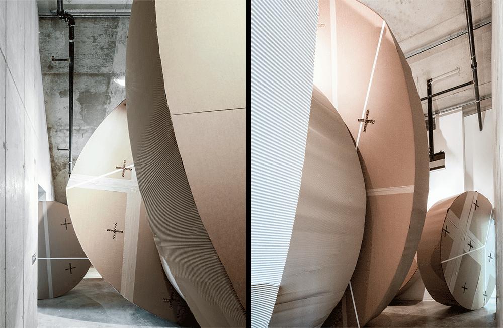 cardboard circular shapes in room