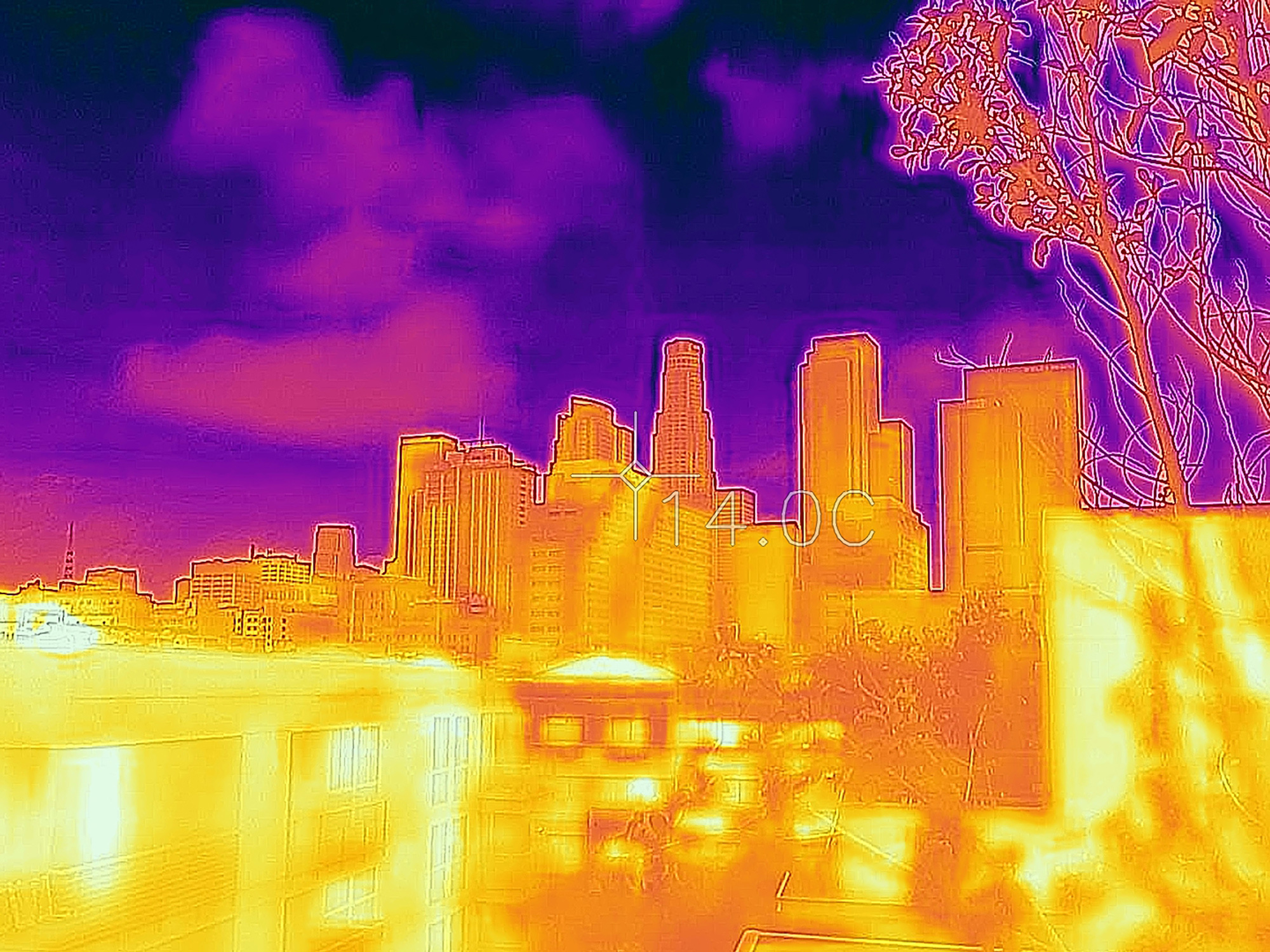 infrared cityscape purple pink orange yellow