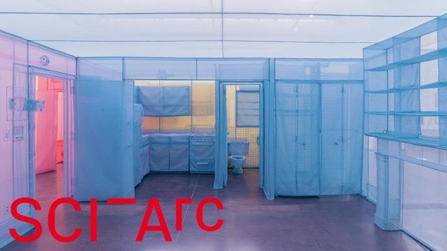 blue yellow pink sheer room installation
