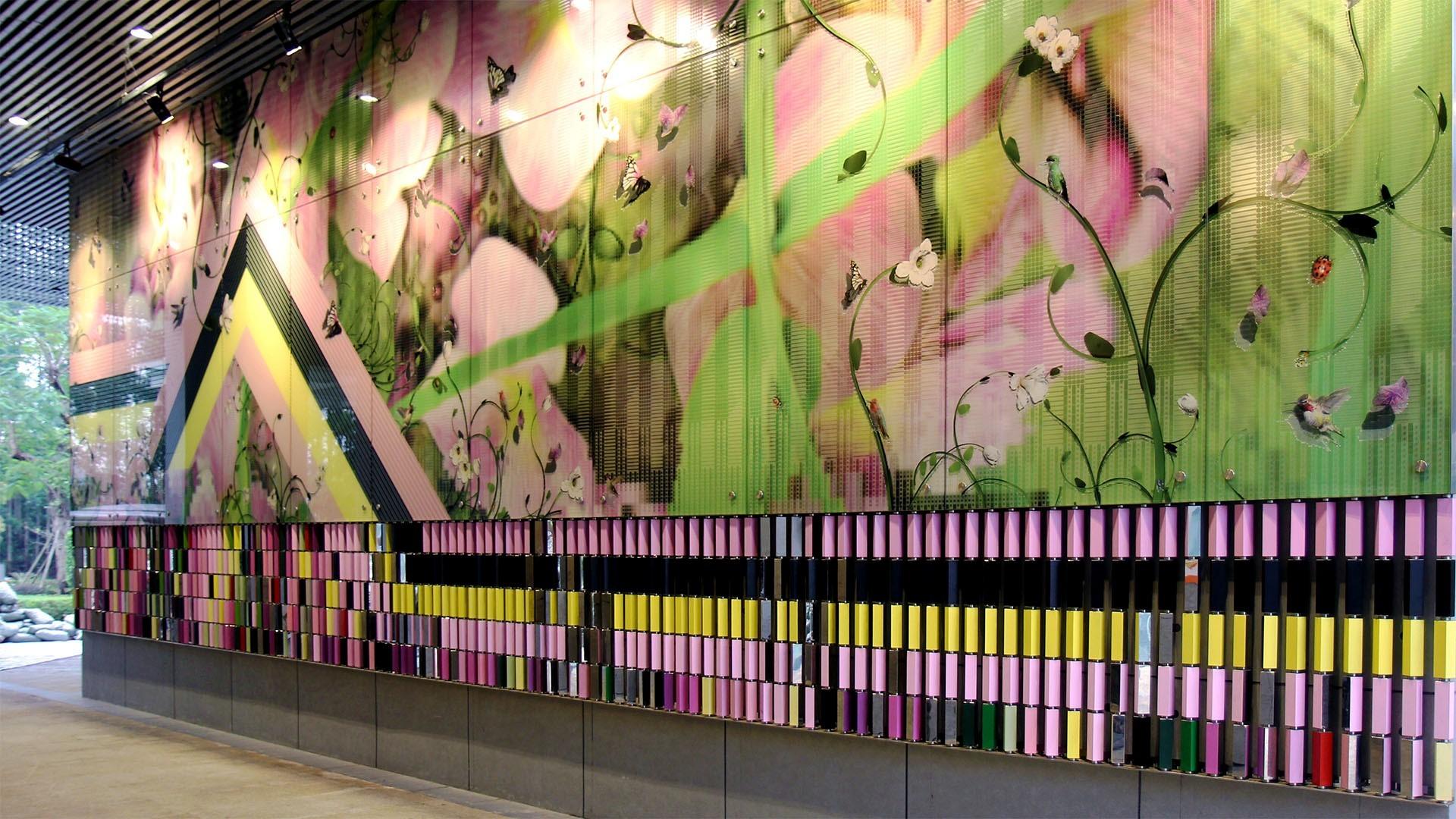 a flower textured wall installation