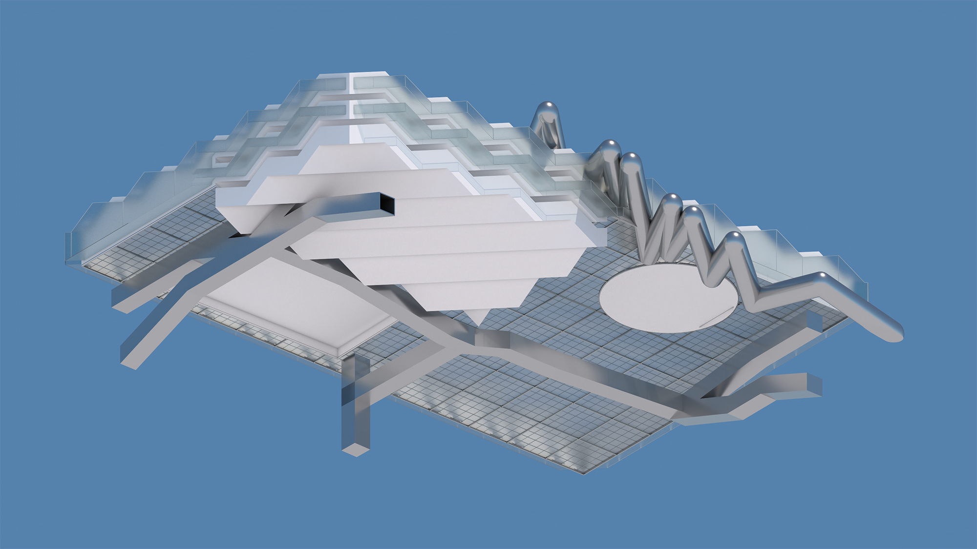 Floating building with blue background
