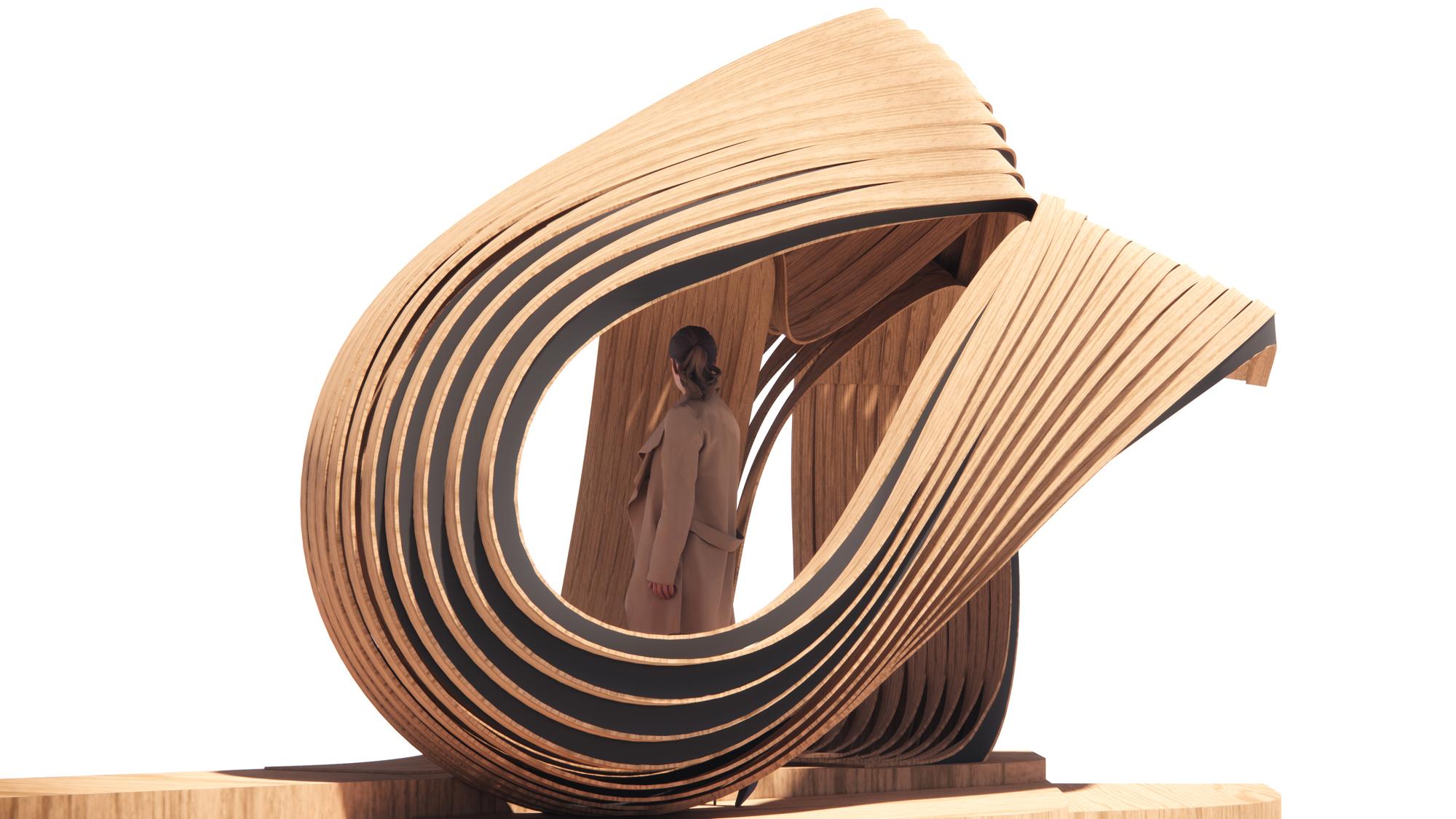 exhibition concept render wooden swirl
