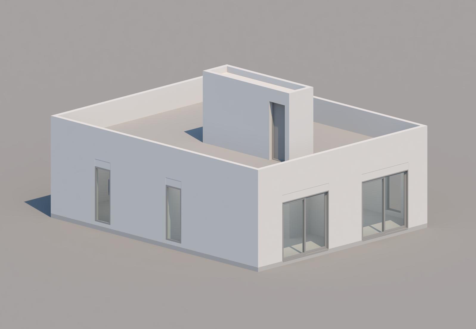 white building render grey background