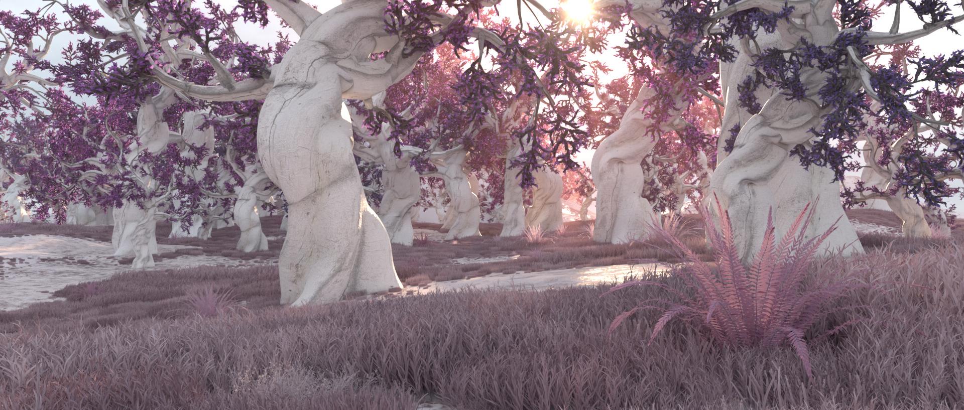 pink purple forrest surreal landscape