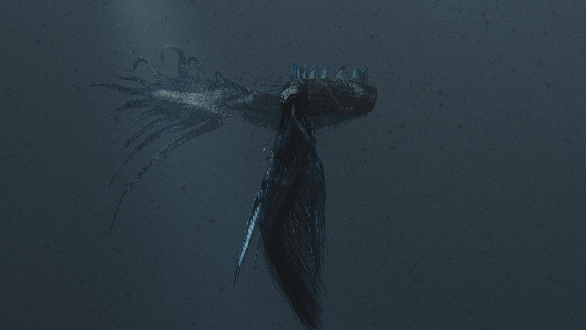 fish animation dark film still underwater