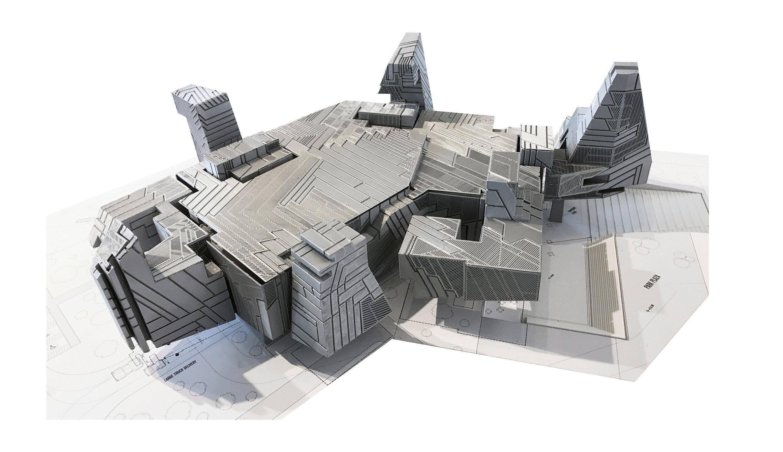 grey geometric architecture model