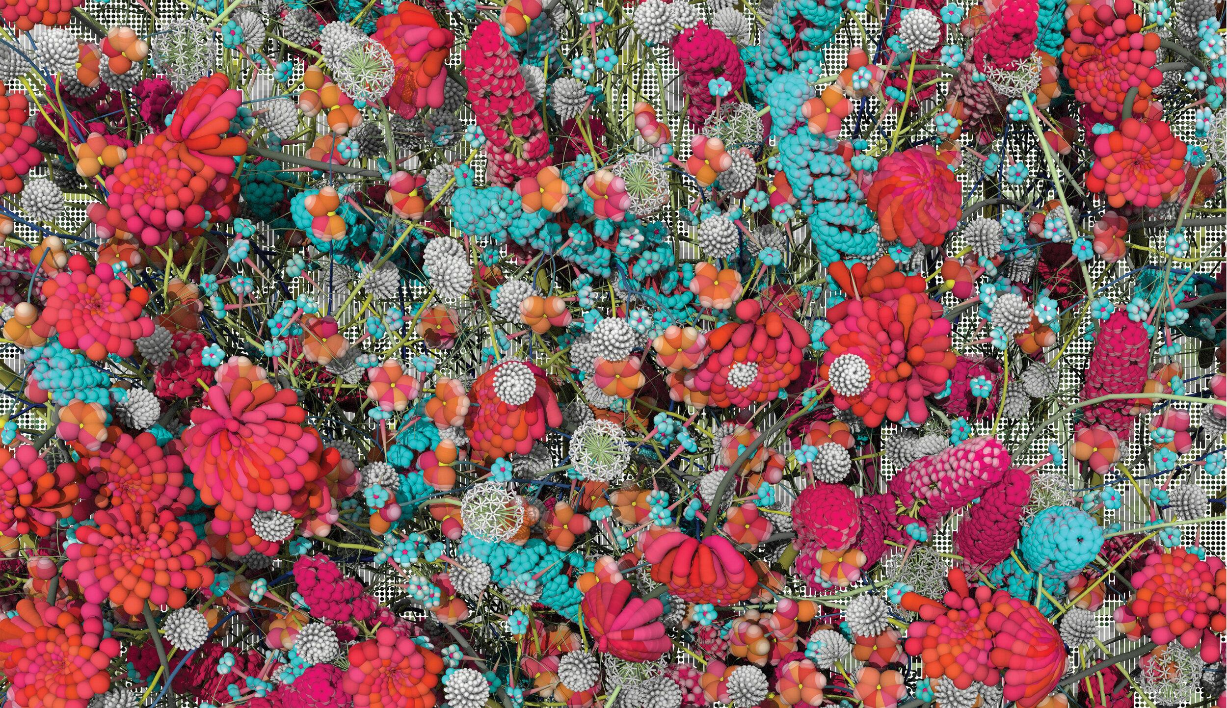multicolor flowers CGI render