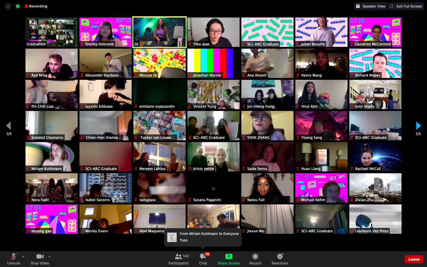 zoom grid of students