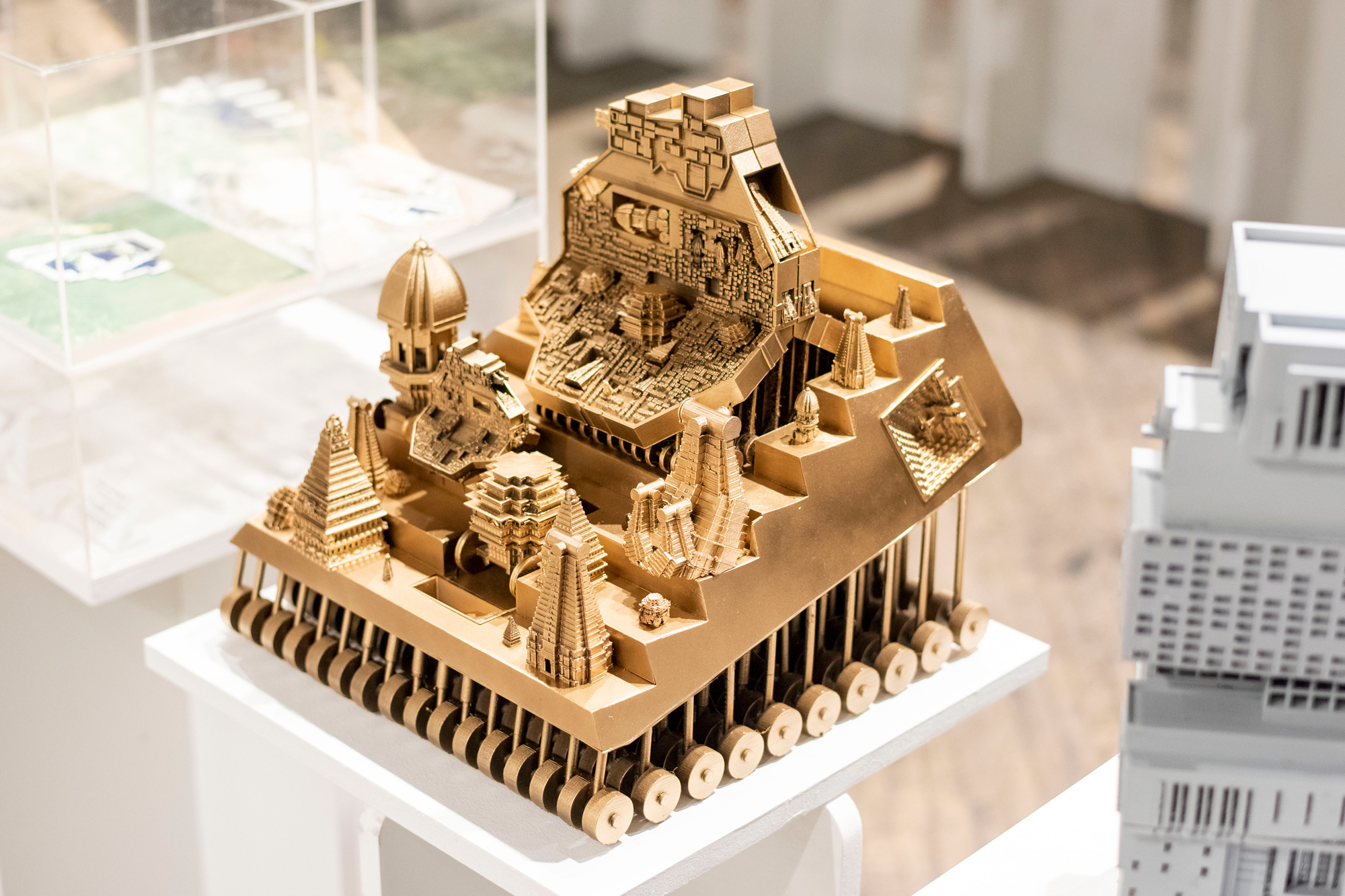 gold zigurat architectural model