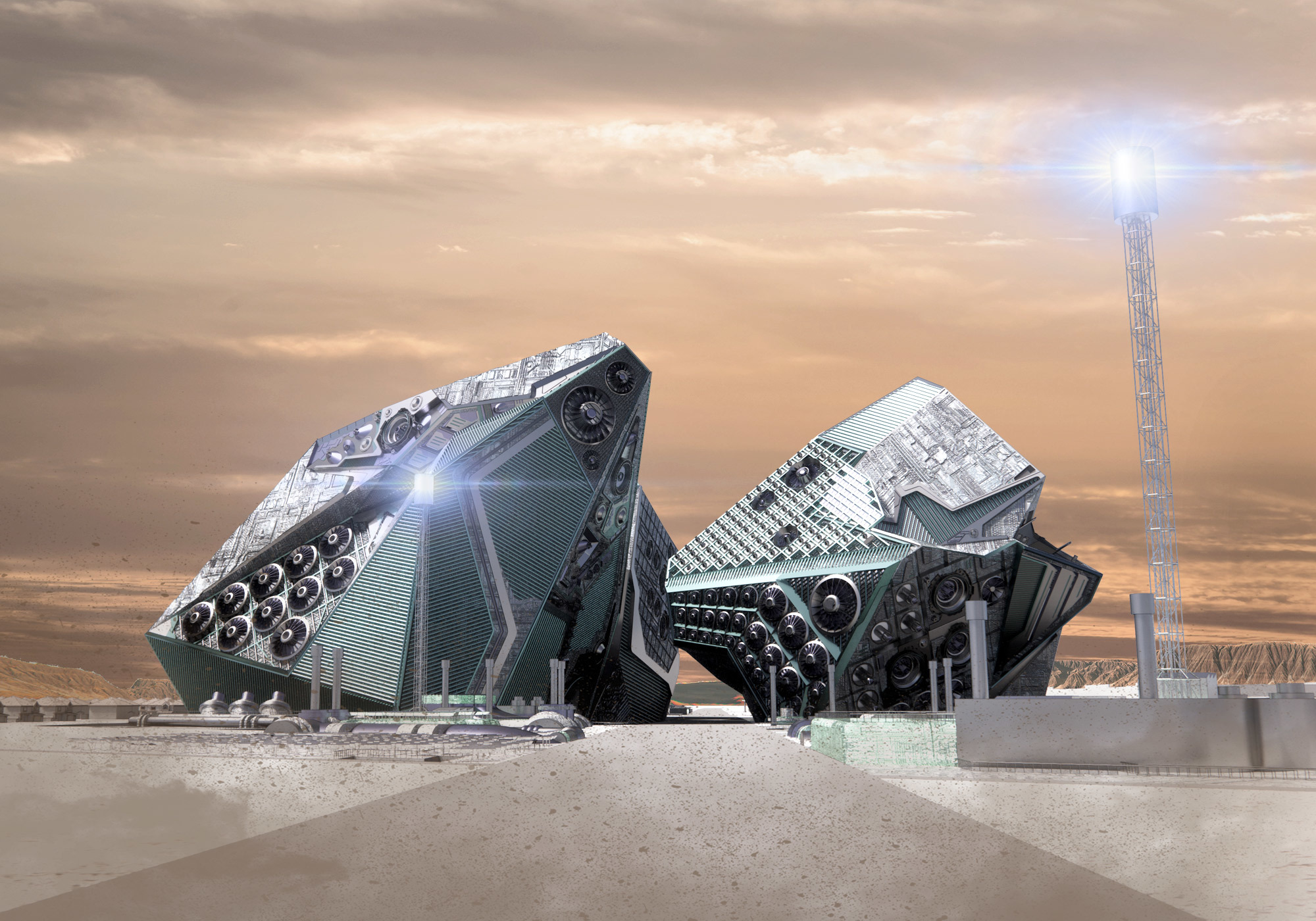 Render of two connected buildings by student