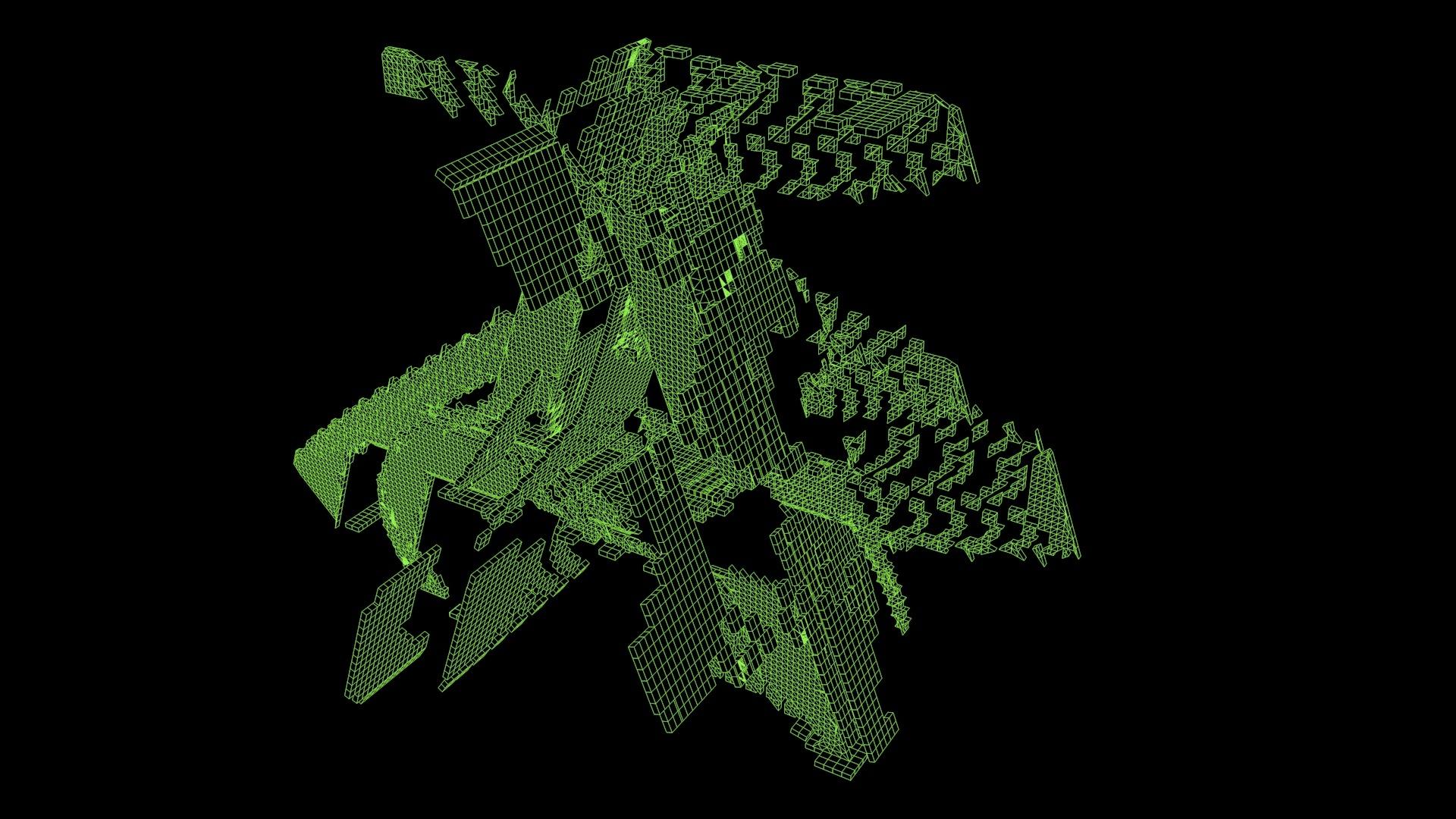 green cgi structure black background