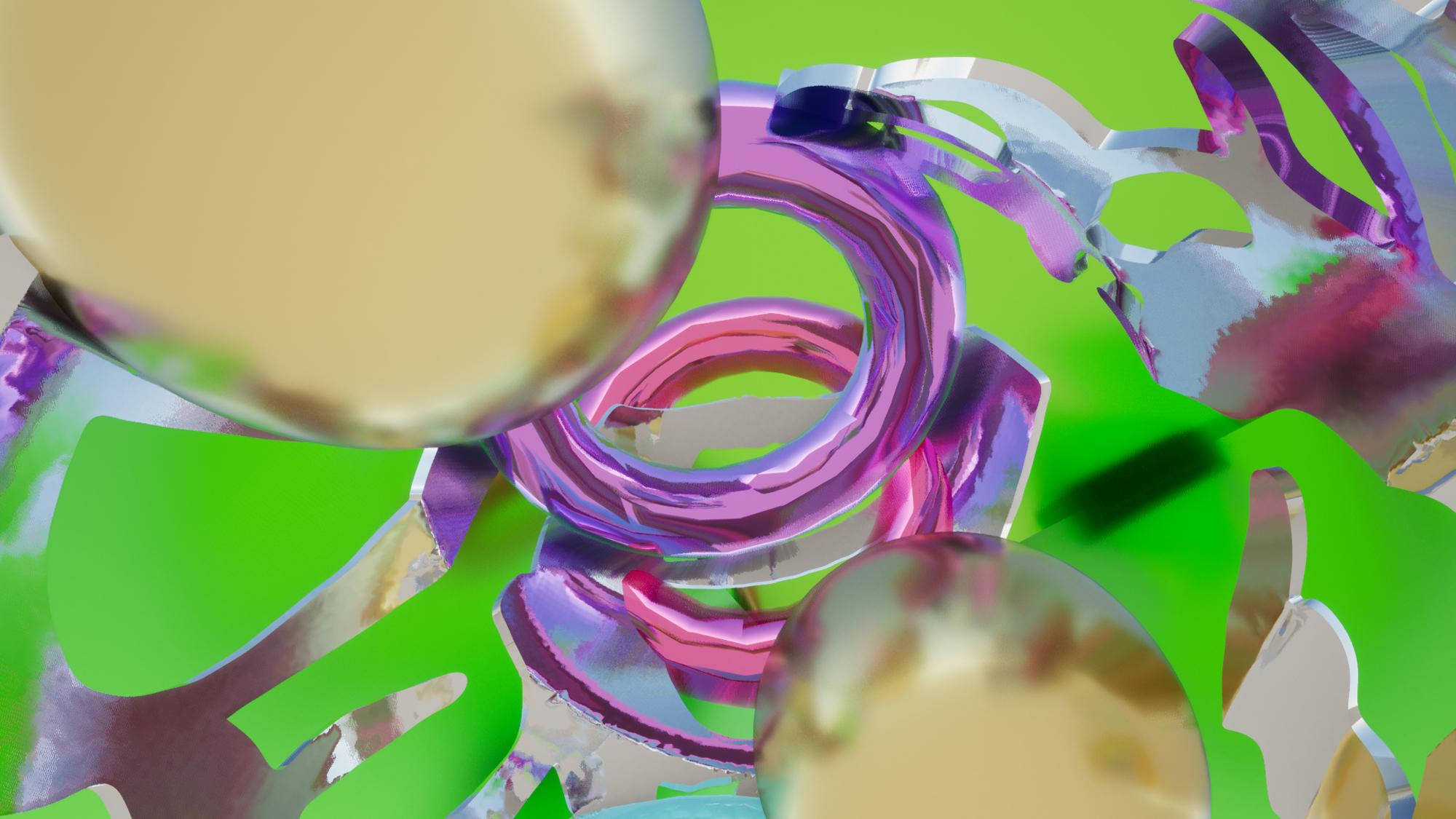 green purple chrome rings floating