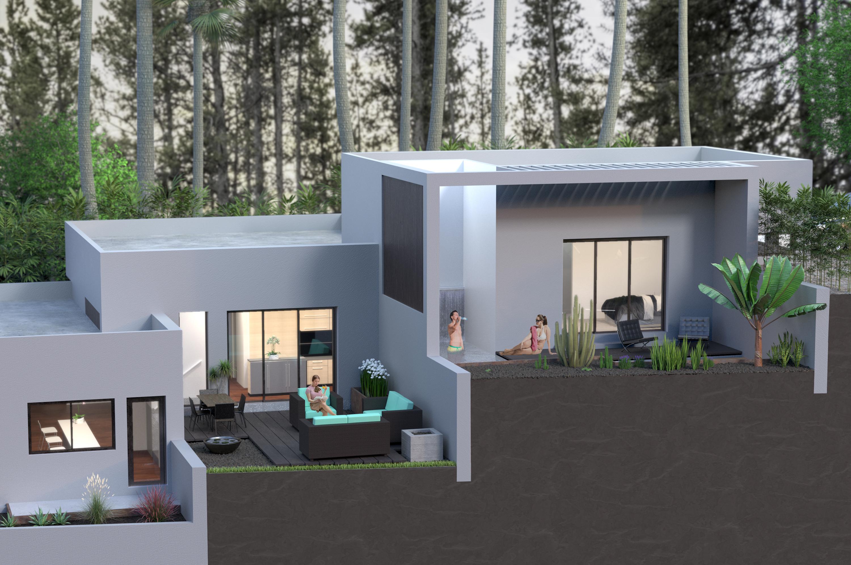 house render backyard patio people trees