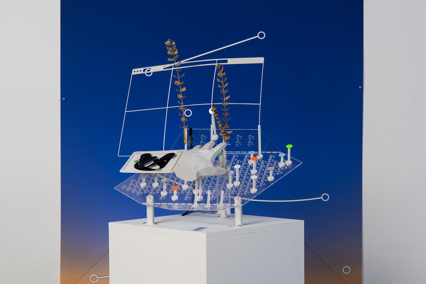 futuristic model clear screen hand controls blue background