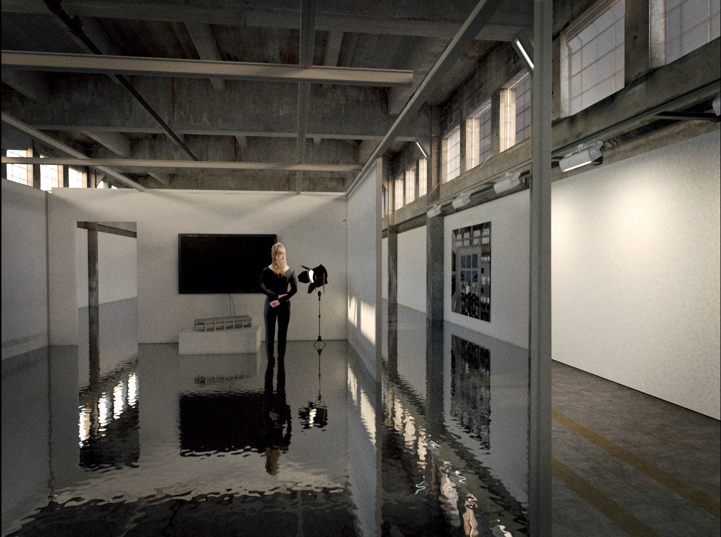 woman in water filled room SCI-Arc