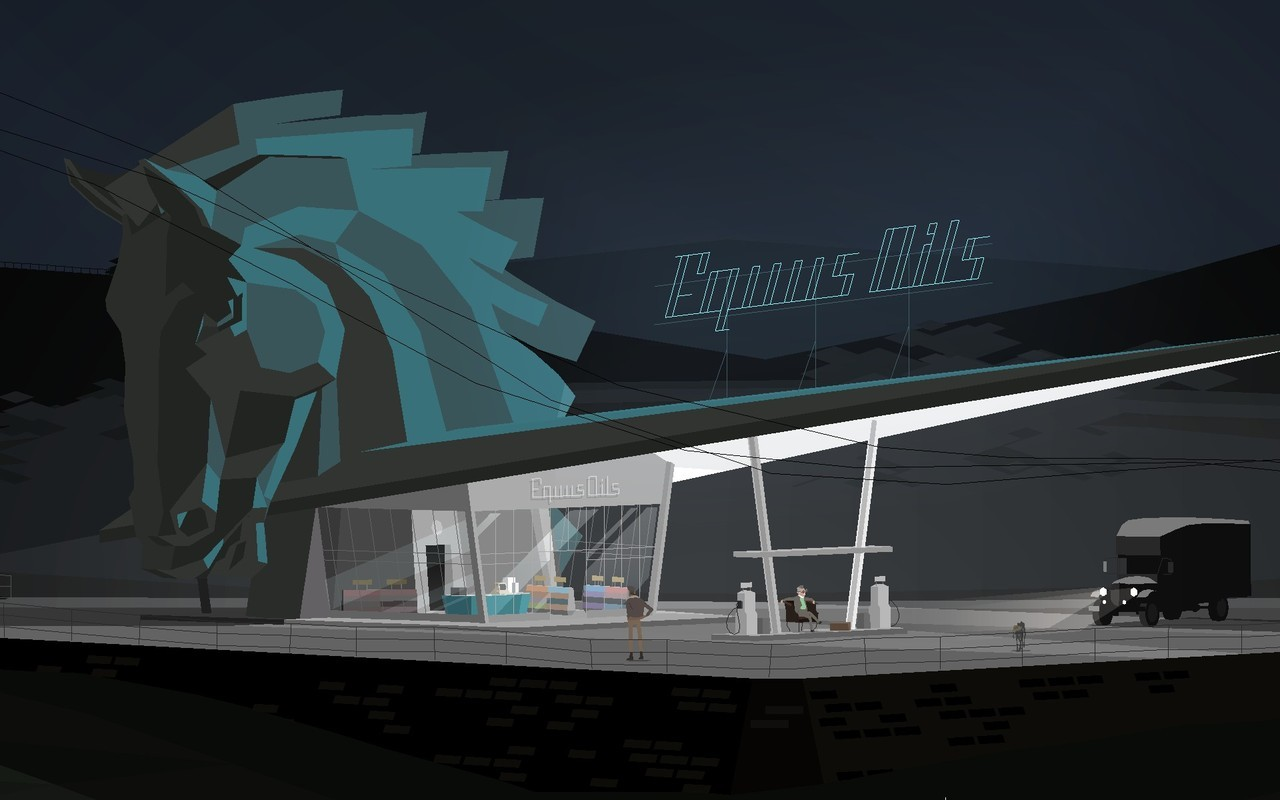 2D visualisation of a road side gas station with a horse head from a chess game