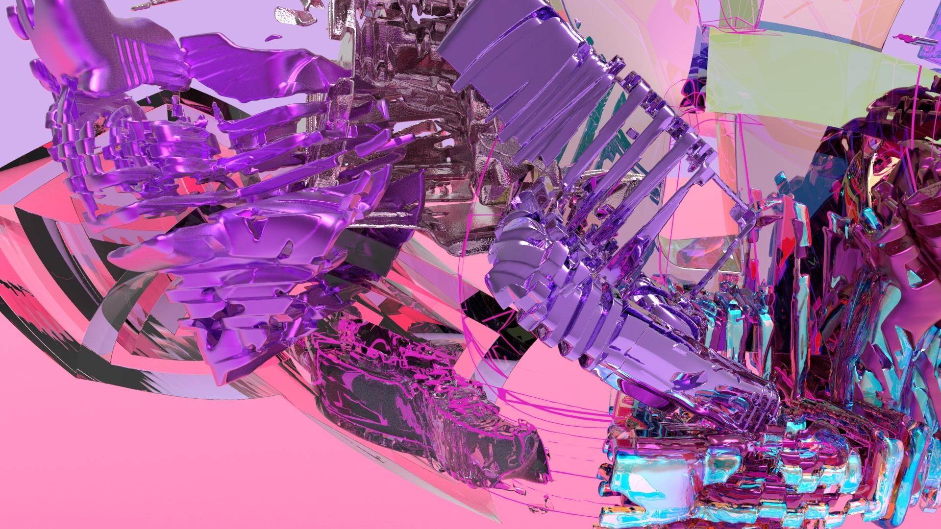 cgi render purple pink metallic shapes