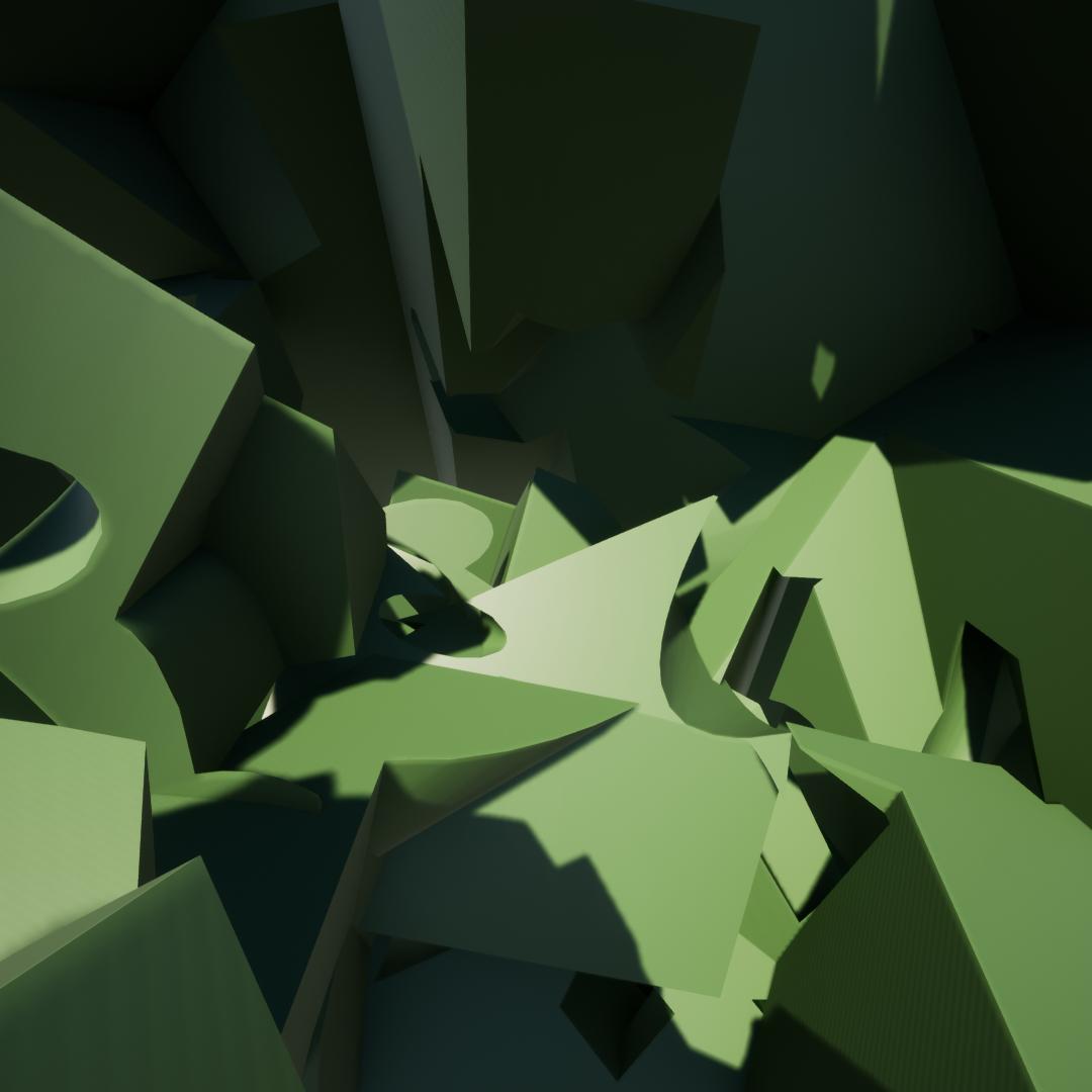 green shapes render