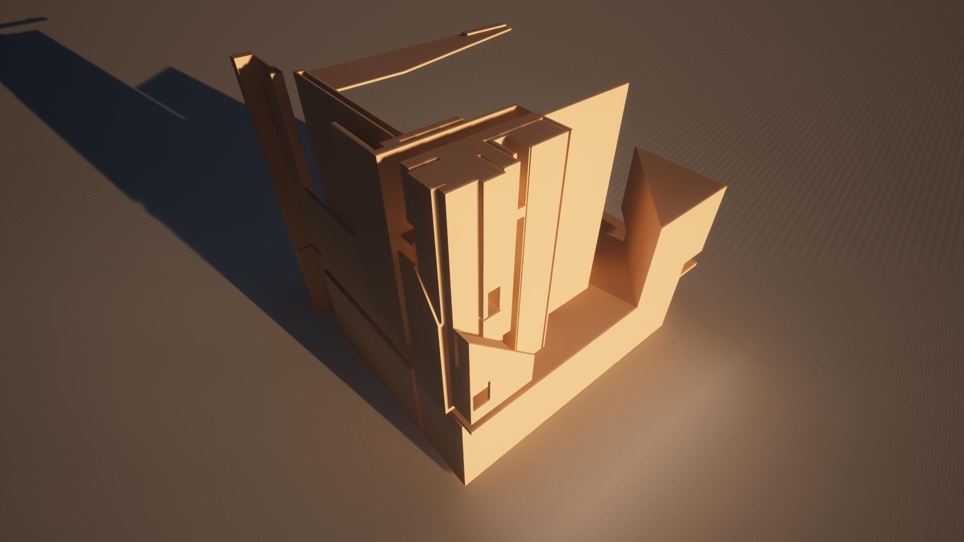 digital render yellow cube