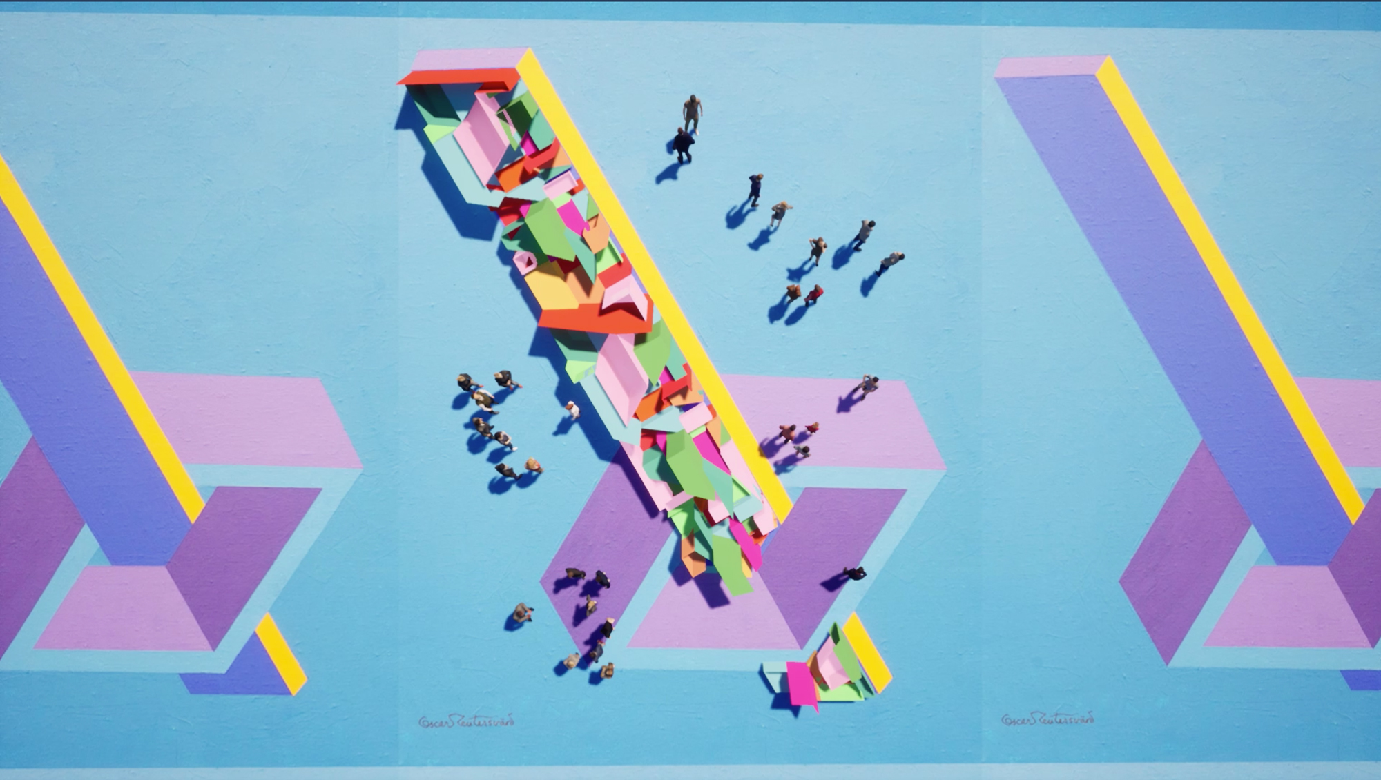 colorful aerial view people building