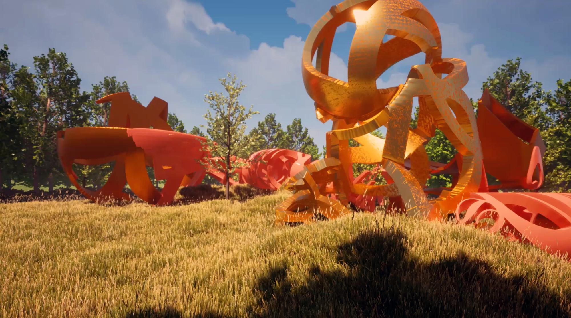 cgi landscape field grass sculpture