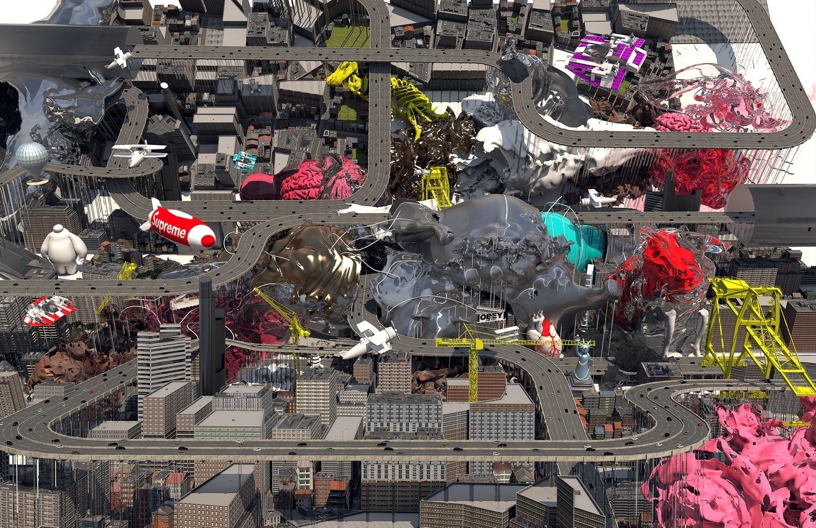 roadways in cityscape blob buildings
