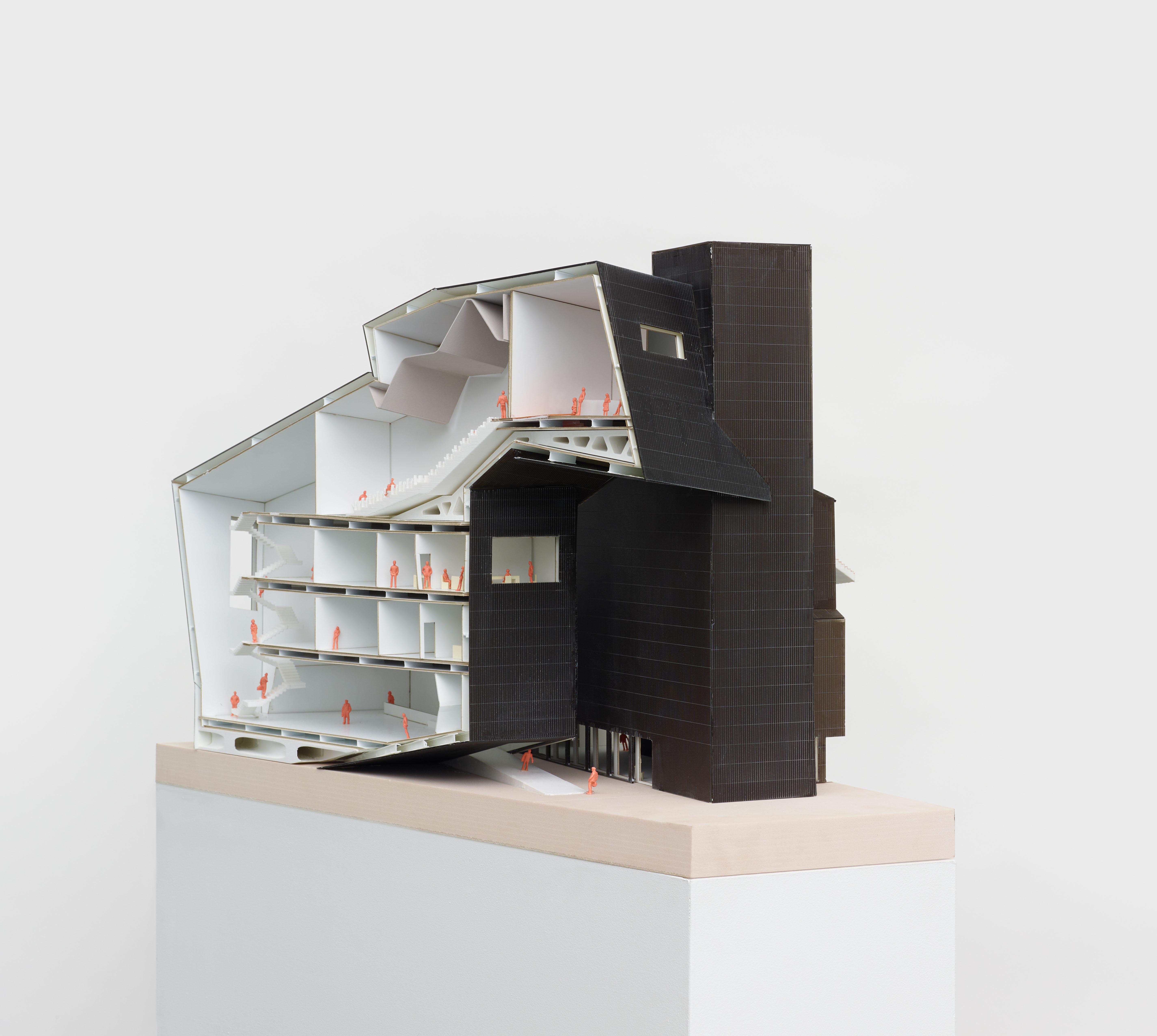 black white student architecture model