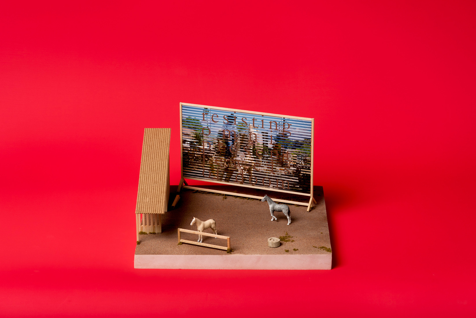 miniature horse stall billboard red background